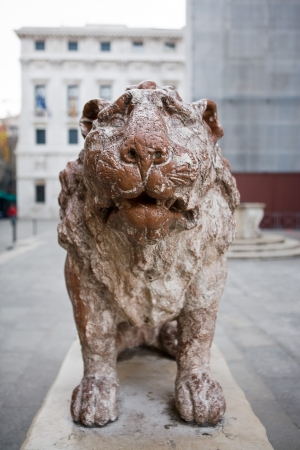 satue of the saint mark lion pazzia san marco saint mark place in the beautiful city of venice in italy photo
