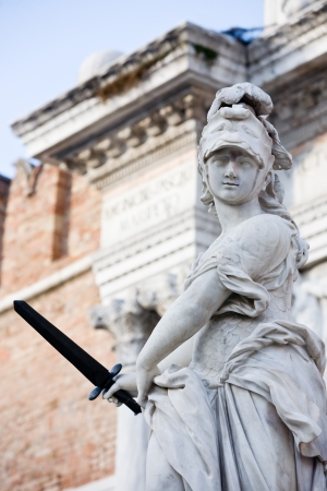 statue of helmeted pallas athena minerva in the beautiful city of venice in italy Stock Photo - 16919370