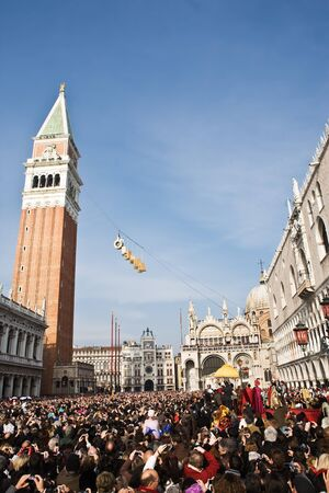 the angel is coming down pazzia san marco saint mark place in the beautiful city of venice in italy annoncing the begining of the carnival