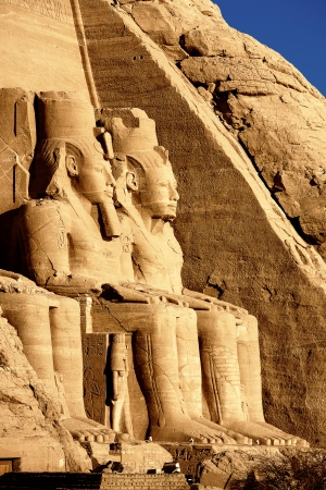 civilization: view of the ramses the great s abou simbel temple along the aswaan lake in egypt