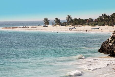 tulum: view of the beautiful white sand beach of tulum in yucatan mexico