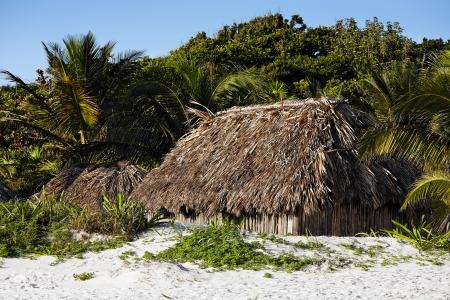 cabana: cabana on the beach  of tulum in yucatan