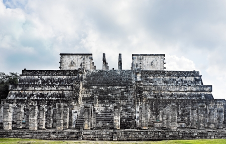 archaeological sites: temple of the jaguar warrior of Chichen Itza in the yucatan was a Maya city and one of the greatest religious center and remains today one of the most visited archaeological sites
