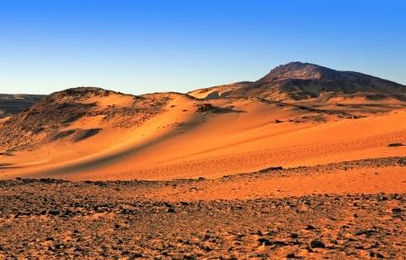 nile: desert sand dune at sunset with blue sky