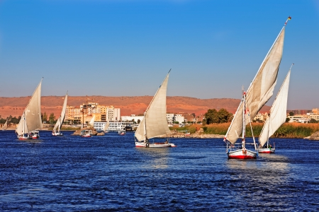 nile river: feluccas sailing on the river nile near aswan in egypt