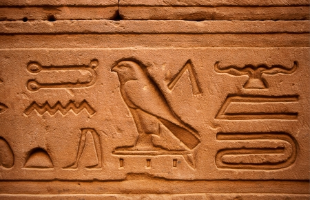 hieroglyphs: Hieroglyphs in Horus  temple in Edfou in upper egypt Editorial