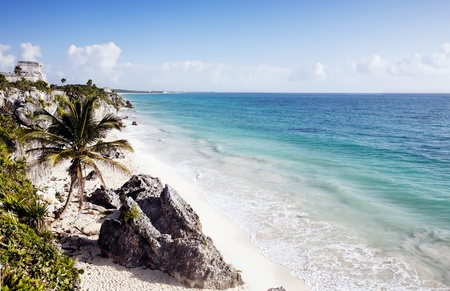riviera: view of beach of the mayan archeologic site of tulum