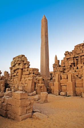 nile: obelisk of the karnak temple in luxor upper egypt