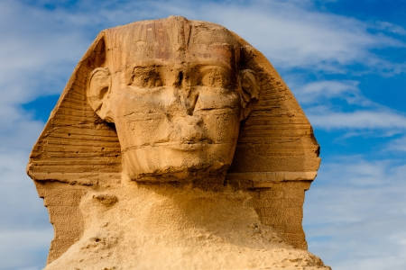 egyptian pharaoh: view of the sphynx with the pyramids of gizah near cairo in egypt Stock Photo
