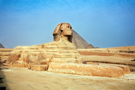 nile river: view of the sphynx with the pyramids of gizah near cairo in egypt Stock Photo