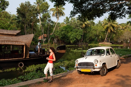 backwaters: houseboat tour in the backwaters in Kerala state india