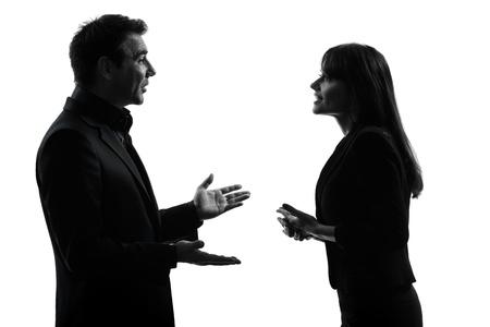 perfil de mujer rostro: un hombre de negocios cauc�sico mujer en el estudio de la silueta aislado en el fondo blanco Foto de archivo