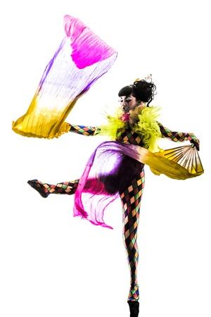 clown cirque: une femme caucasienne Arlequin danseur artiste de cirque en studio silhouette isol� sur fond blanc