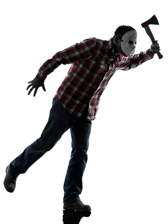 one caucasian man serial killer with mask full length in silhouette studio isolated on white background photo