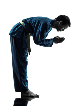 one asian young man exercising martial arts karate vietvodao in silhouette studio isolated on white background photo