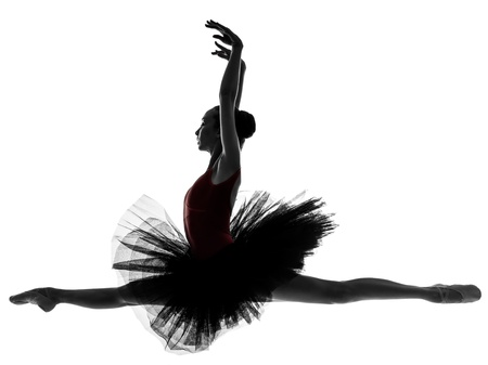 dancer silhouette: one caucasian young woman ballerina ballet dancer dancing with tutu in silhouette studio on white background