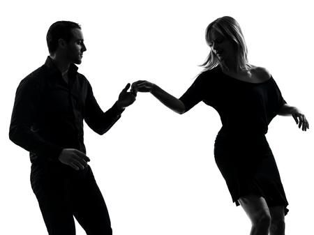 donna che balla: uno caucasico donna coppia uomo ballo ballerini roccia salsa in studio, silhouette, isolato su sfondo bianco