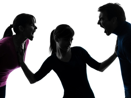 man scolding: one caucasian family father mother daughter dispute screaming  in silhouette studio isolated on white background