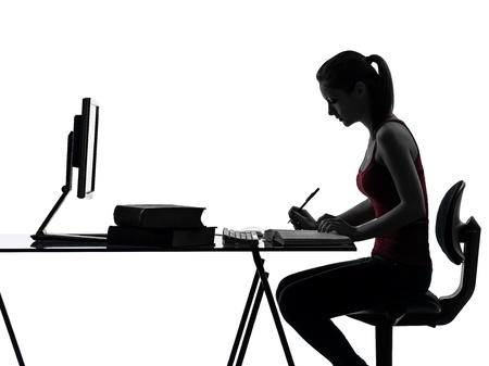 one caucasian teenager girl homework studying woman in silhouette studio isolated on white background
