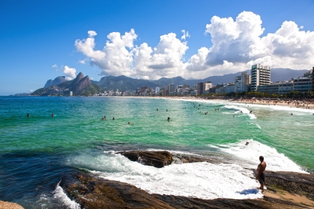 beautiful ipanema Leblon beach in rio de janeiro brazil photo