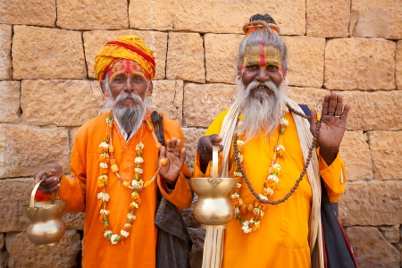 sadhu: jain priest welcoming saluting in jaisalmer in rajasthan state in india Editorial