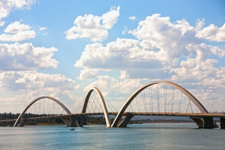 was: juscelino kubitschek bridge of Brasilia city capital of Brazil   The bridge was designed by Architect Alexandre Chan Editorial