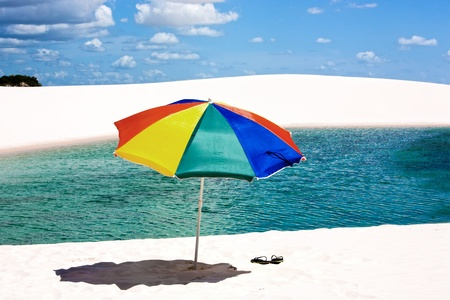 umbrella beach at lagoa azul in the Lencois Maranheses National Park brazil photo