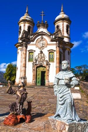 view of the Igreja de Sao Francisco de Assis of the unesco world heritage city of ouro preto in minas gerais brazil Redactioneel