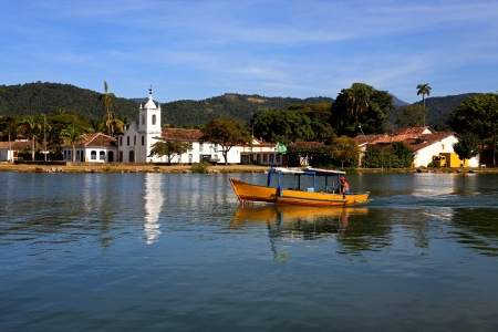 patrimony: church of the beautiful portuguese colonial typical town of parati in rio de janeiro state brazil