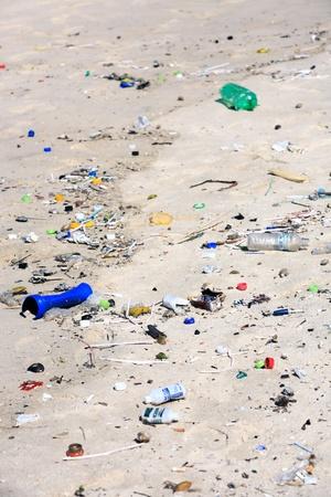 rio de janeiro: pollution on the copacabana beach in rio de janeiro in brazil Editorial