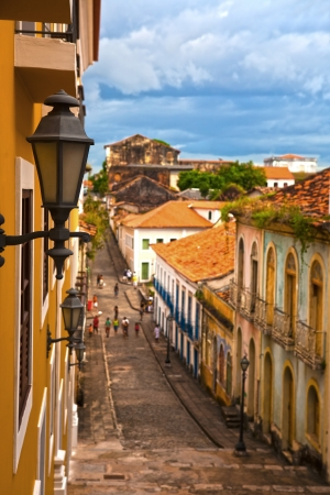 luis: street of the historic center of the city of sao luis of maranhao in brazil