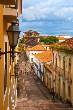 streetscene: street of the historic center of the city of sao luis of maranhao in brazil