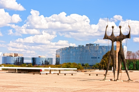 brasil: Square of the Three Powers with their Os Candangos  statue in brasila capital city of brazil Editorial
