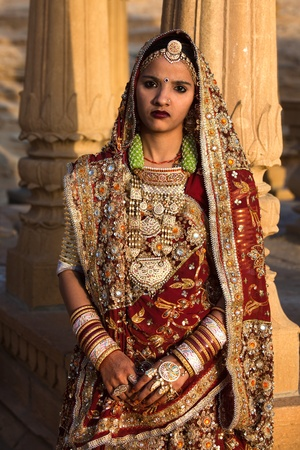 wedding couple in tradional costume in jaisalmer  in rajasthan state in india Editorial