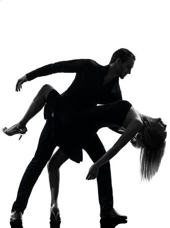 danseuse: une femme caucasien homme couple de danseurs de salsa roche danseurs en studio silhouette isol� sur fond blanc Banque d'images