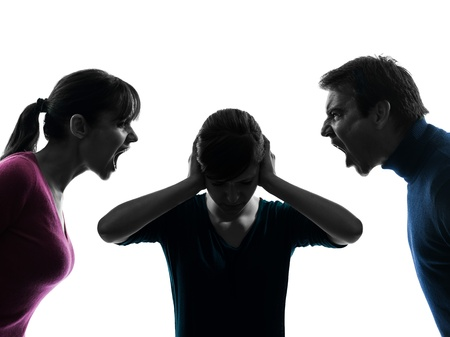 reproach: one caucasian family father mother daughter dispute screaming  in silhouette studio isolated on white background