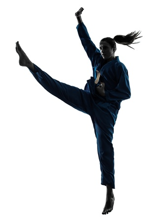 vietvodao: one caucasian woman exercising karate vietvodao martial arts in silhouette studio isolated on white background