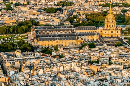 invalides: aerial view invalides chuch cityscape of Paris in france Stock Photo