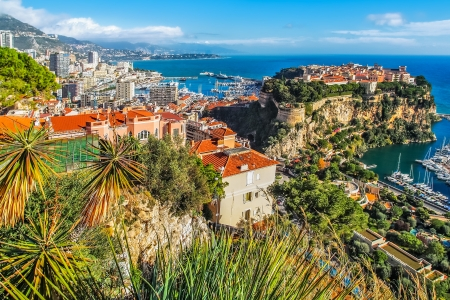 monte: the rock the city of principaute of monaco and monte carlo in the south of France Stock Photo