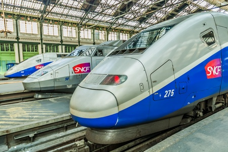PARIS , FRANCE - JULY 7   TGV high speed french train in gare de Lyon station on July 7 , 2006 in Paris, France