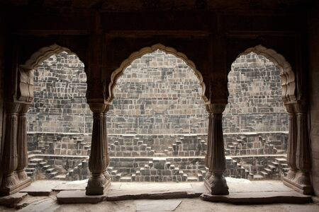 dausa: the step well of abhaneri in rajasthan state in india Stock Photo