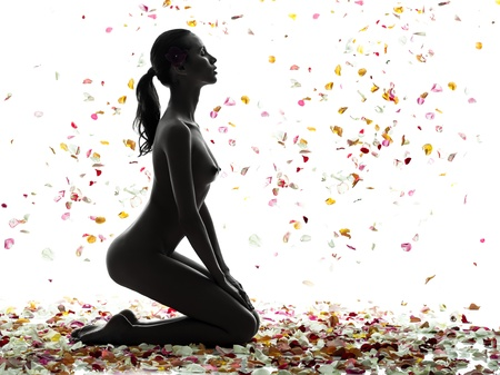 naked silhouette: one beautiful asian woman naked  with petal flowers  in silhouette studio isolated on white background
