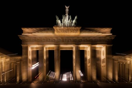 brandenburg gate: Brandenburg Gate by night in berlin germany Stock Photo