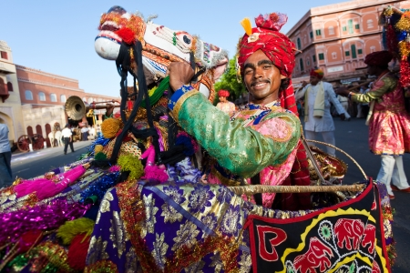rajasthan: Jaipur, Rajasthan,India - March 29 : people and elephants of the city are celebrating the gangaur festival one of the most important of the year march 29 2009 in jaipur,rajasthan,india