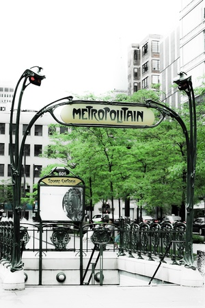 subway entrance: french subway entrance in montreal city canada