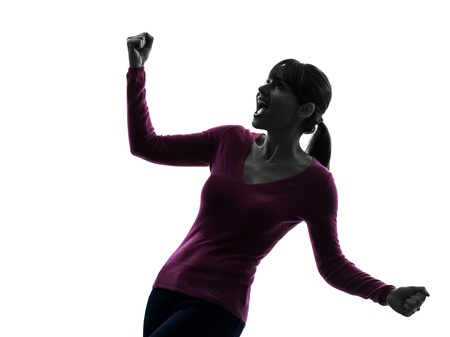 outstretched arms: one caucasian woman arms outstretched screaming happy  in silhouette studio isolated on white background