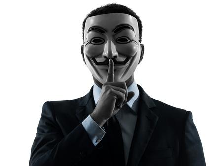 """PARISâ€"""" 30 OCTOBRE un homme habillé et masqué en tant que membre du groupe clandestin anonyme membre du groupe silencieux le 30 octobre 2012 à Paris, France"""
