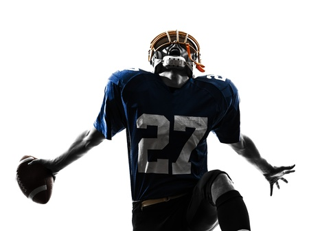 football player: one caucasian american football player man triumphant in silhouette studio isolated on white background Stock Photo