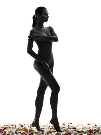 mujer desnuda: una mujer asi�tica hermosa desnuda con p�talos de flores en el estudio de silueta aislados sobre fondo blanco