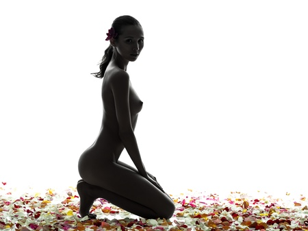 naked woman  white background: one beautiful asian woman naked  with petal flowers  in silhouette studio isolated on white background